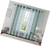 "One  Spa Blue Jacquard Grommet Window Curtain Panel: 54"" x"