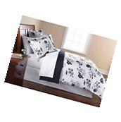 Mainstays 8PC OPP Black White Floral Bed in bag Comforter