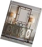 XL LARGE ORNATE ANTIQUE SILVER WALL MIRROR PANELED BUFFET