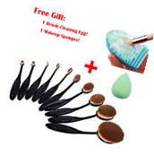 10Pcs Oval Cream Puff Cosmetic Toothbrush Shaped Power