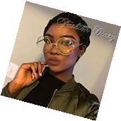 NEW OVERSIZED CLEAR LENS GLASSES METAL GOLD FRAME ROUND