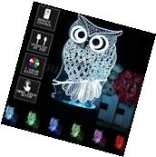 Owl 3D Illusion Touch Switch+Remote Control 7 Color LED Desk