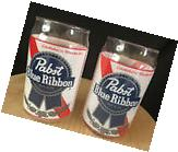 Pabst Blue Ribbon PBR set of 2 NEW 16oz. Can Shaped Retro