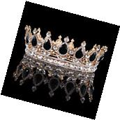 Pageant Prom Gold King Queen Crystal Crown Black Rhinestone