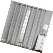 "Paisley Gray Blackout Thermal Jacquard Window Curtains 76"" W"