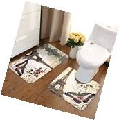 2Pcs Paris Eiffel Tower Home Bathroom Toilet Floor Bath Door