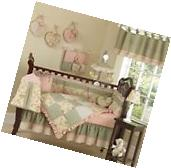 Patchwork Luxury Boutique Green Flower Baby Girl Bedding 9pc