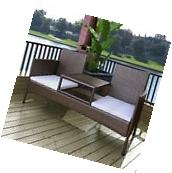 Patio 2-Seater Bench w/ Integrated Table Rattan & Wicker