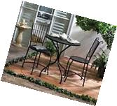 3 PIECE PATIO BISTRO SET TABLE AND 2 CHAIRS BLACK METAL NEW~