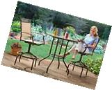 Outdoor Patio Bistro Table Chairs Set 3 Piece Bar Height