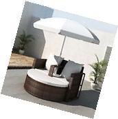 Patio Outdoor Brown Furniture Rattan & Wicker Lounge Set