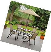 6 Piece Patio Dining Set Folding Table Chairs Umbrella