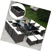 11 PCS Outdoor Patio Dining Set Metal Rattan Wicker