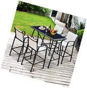 5pc Outdoor Patio Dining Table Bar Set Stools Chair Garden