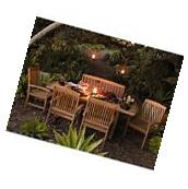 Outdoor Patio Extendable Teak Wood Dining Set - 6 pc Table