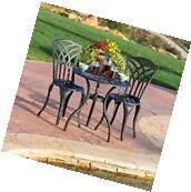 Outdoor Patio Furniture 3pcs Black Sand Cast Aluminum Bistro