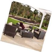 Outdoor Patio Furniture 6pc Brown PE Wicker Chaise Lounge