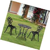 Outsunny 3pc Outdoor Patio Furniture Cast Aluminum Bistro