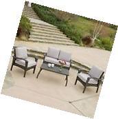 Outdoor Patio Furniture Grey Wicker Luxury 4pc Sofa Seating