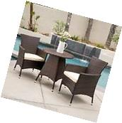 Outdoor Patio Furniture Multibrown Wicker Bistro Set w/