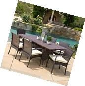 Outdoor Patio Furniture Multibrown Wicker Long Dining Set w