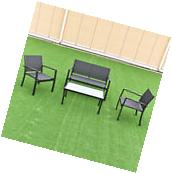 4 PCS Outdoor Patio Furniture Set Sofa Loveseat Tee Table