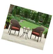 Patio Furniture Set 3 Piece Wicker Bistro Table And Chairs