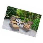Patio Furniture Set 5 PC Outdoor Wicker Rattan Table Garden