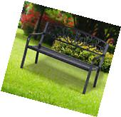 "Outsunny Patio Furniture 50"" Steel Garden Park Bench Deck"