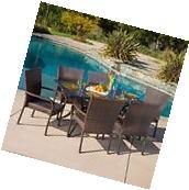 Outdoor Patio Furniture 7pc Vestavia Cast Aluminum Wicker