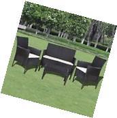 4pc Outdoor Patio Garden Furniture Set Wicker Rattan