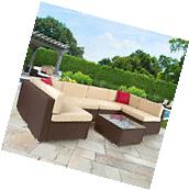 7pc Outdoor Patio Garden Furniture Wicker Rattan Sofa Set