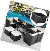 9PC Patio Garden Rattan Wicker Sofa Set Furniture Cushioned