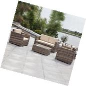 5 PC Outdoor Patio Rattan Furniture Set Sectional Cushioned