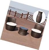 3 PCS Patio Rattan Stackable Furniture  Set Chair Coffee