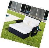 Patio Rattan Wicker Chaise Lounge Furniture Set Sofa Ottoman