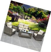 8 PCS Outdoor Patio Rattan Wicker Furniture Set  Sofa