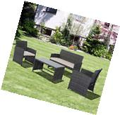 Patio 4PC Rattan Wicker Sofa Furniture Set Cushioned Outdoor