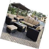 7PC Outdoor Patio Patio Sectional Furniture PE Wicker Rattan