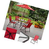 Patio Set With Umbrella Dining Furniture Glass Table Folding