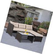 3PC Outdoor Patio Sofa Set PE Rattan Wicker Deck Couch