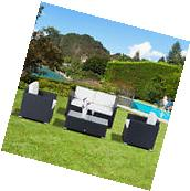 Outsunny 4pc Rattan Wicker Sofa Set Sectional Cushioned