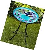 Peacock Themed GLASS BOWL BIRDBATH Outdoor Garden Yard Lawn