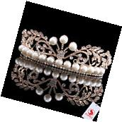 Pearl Rose Gold Crown Full Head Tiaras Crystal Hair Pageant