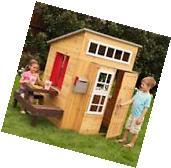 Cedar Playhouse Children Outdoor Kids Picnic Table Mailbox
