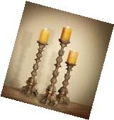 Tall Candle Holders Large Pillar Set of 3 Carved Style