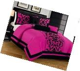 Pink Black Flocked comforter Set Queen Size 7 Piece ONLY At