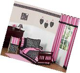 Pink And Black Cheap Girl Toddler Size Bedding For A Kid Bed