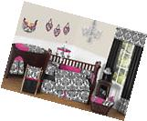Hot Pink Black White Damask Baby Girl Crib Bedding Comforter