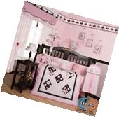 Pink Brown Butterfly Baby Girl Nursery CRIB BEDDING SET